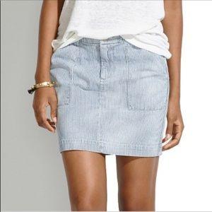 NWT Madewell Walker Striped Mini Denim Skirt